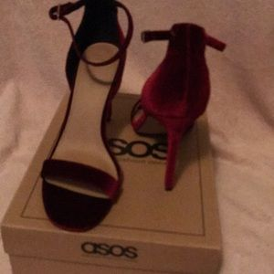 Asos  barely there heeled sandal in burgundy